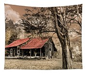 Old Mountain Cabin Tapestry