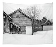 Old New England Barns In Winter Tapestry