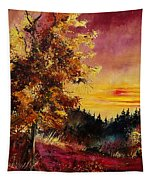 Old Oak At Sunset Tapestry