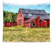 Old Red Barn Abandoned Farm Vermont Tapestry
