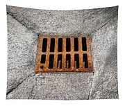 Old Rusty Street Grate Near The Sea In Cres Tapestry