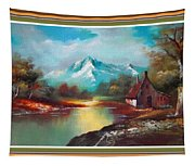 Old Shed Close To A River H B With Decorative Ornate Printed Frame. Tapestry