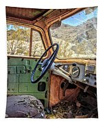 Old Truck Interior Nevada Desert Tapestry by Edward Fielding