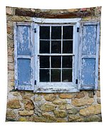 Old Village Window With Blue Shutters Tapestry