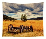 Old Wagons In Meadow Tapestry