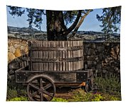 Old Wine Barrel And Wagon - Napa Valley Tapestry