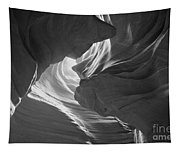 Old Woman In The Canyon Black And White Tapestry