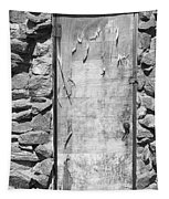 Old Wood Door  And Stone - Vertical Bw Tapestry