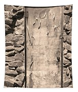 Old Wood Door  And Stone - Vertical Sepia Bw Tapestry