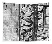 Old Wood Door Window And Stone In Black And White Tapestry