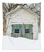 Old Wooden Garage In The Snow Woodstock Vermont Tapestry