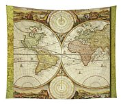Old World Map On Gold Tapestry