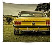 Old Yellow Mustang Rear View In Field Tapestry