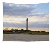 On The Beach At Cape May Lighthouse Tapestry
