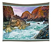 On The Coast Of Cornwall L A With Decorative Ornate Printed Frame. Tapestry