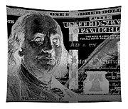 One Hundred Us Dollar Bill - $100 Usd In Silver On Black Tapestry