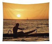 One Man Canoe Tapestry