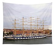 One Of Star Clipper's Masted Cruise Liners Docked In Venice Italy Tapestry