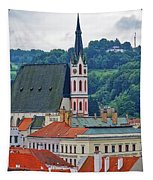 One Of The Churches In Cesky Kumlov In The Czech Republic Tapestry