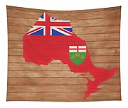 Ontario Rustic Map On Wood Tapestry
