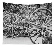 Oo Wagon Wheels Black And White Tapestry