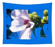 Open Hibiscus Flower With Deep Blue Sky Tapestry