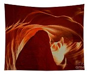 Orange Abstract At Upper Antelope Tapestry