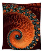Orange And Aqua Spiral Tapestry
