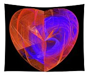 Orange And Blue Fractal Heart Tapestry