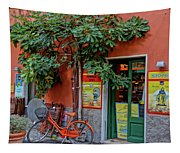 Orange Bicycle Wine Shop Monterosso Italy Dsc02584 Square Tapestry