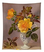 Orange Roses In A Blue And White Jug Tapestry