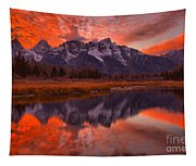 Orange Skies Over The Tetons Tapestry