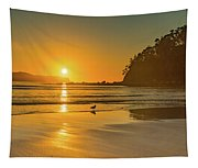 Orange Sunrise Seascape And Beach Tapestry