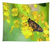 Orchids And Butterfly Painting Tapestry