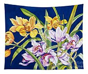 Orchids In Blue Tapestry