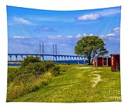 Oresund Bridge With Cabanas Tapestry