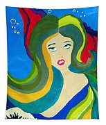 Japanese Mermaid Bubbles  Tapestry