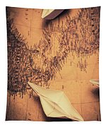 Origami Boats On World Map Tapestry