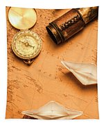 Origami Paper Boats On A Voyage Of Exploration Tapestry