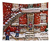Original Paintings For Sale Montreal Petits Formats Verdun Duplex Et Hockey Paysage Quebec A Vendre Tapestry