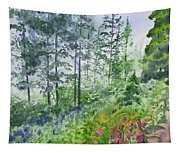 Original Watercolor - Summer Pine Forest Tapestry