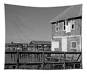 Ormond Yacht Club Black And White Tapestry