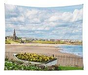 Ornamental Boat Against Tynemouth Coastline Tapestry