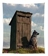 Outhouse Guardian - German Shepherd Version Tapestry
