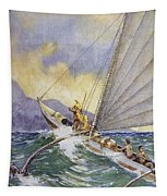 Outrigger At Sea Tapestry