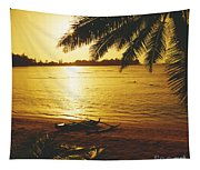 Outrigger At Sunset Tapestry
