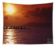 Outrigger Canoe At Sunset Tapestry