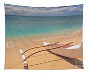Outrigger On Beach Tapestry