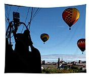 Over Auburn And Lewiston Hot Air Balloons Tapestry