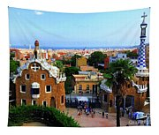 Overlooking Barcelona From Park Guell Tapestry